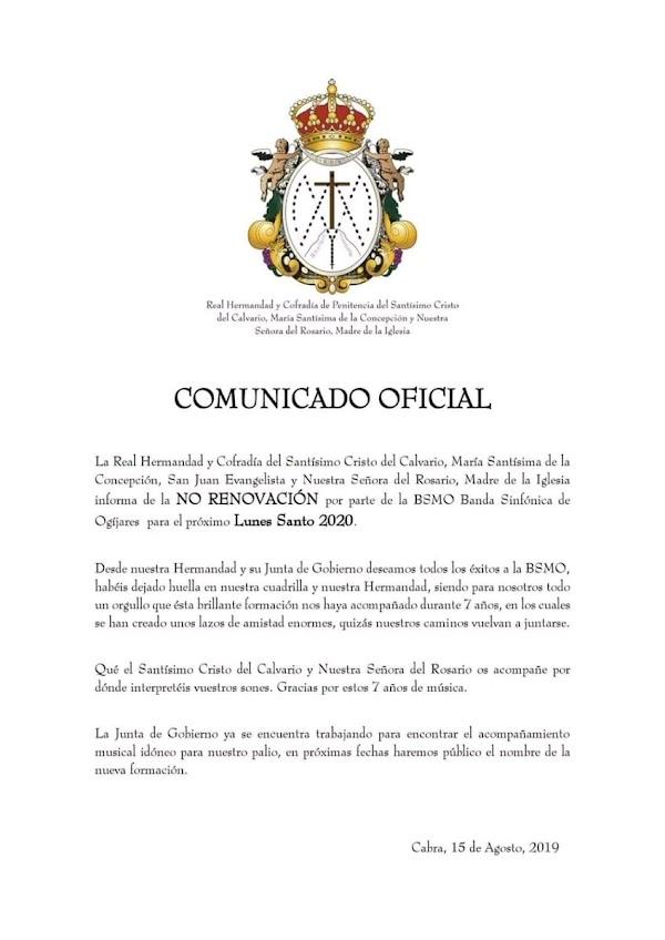 La Hermandad del Calvario de Cabra (Córdoba) no ha renovado a la Banda de Ojíjares (Granada).