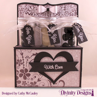 Divinity Designs Stamp Set: Treat Tag Sentiments 1, Paper Collection: Wedding Wishes, Custom Dies: Test Tube Trio, Pierced Heart, Layering Hearts, Test Tubes Small