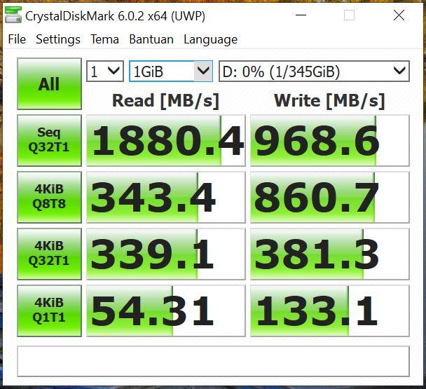Benchmark CrystalDiskMark 6.0.2 x64 Asus Vivobook Ultra A412FA EK303T