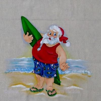 pintura de natal papai noel surfista na praia