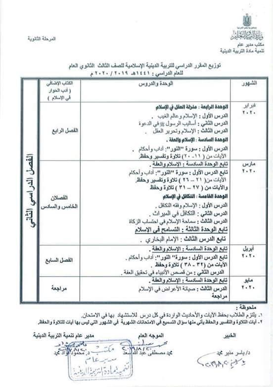 توزيع مناهج التربية الدينية الاسلامية لكل الصفوف و المراحل (ابتدائي - اعدادي - ثانوي) للعام الدراسي 2019 / 2020 12