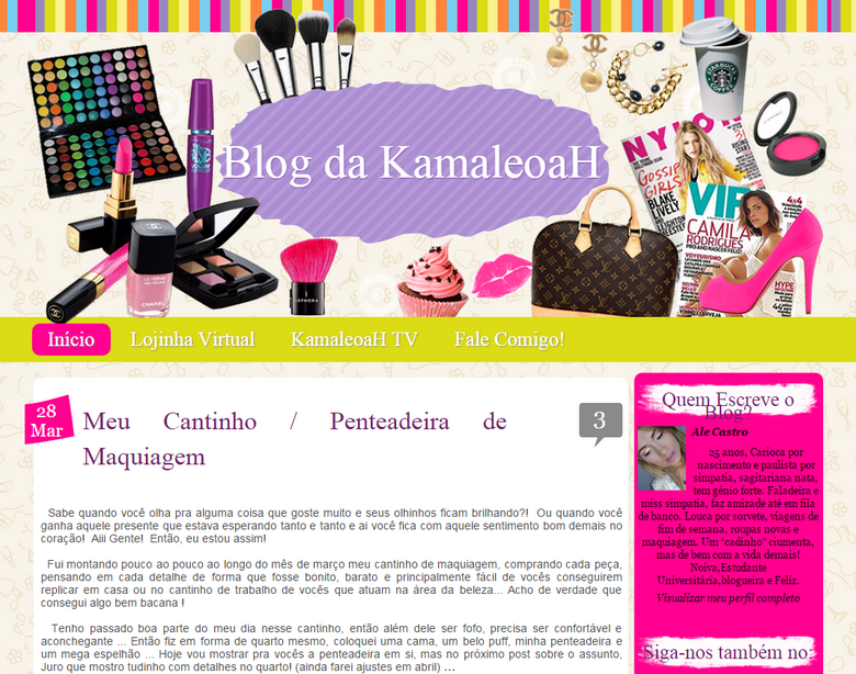 Layout antigo blog da kamaleoah