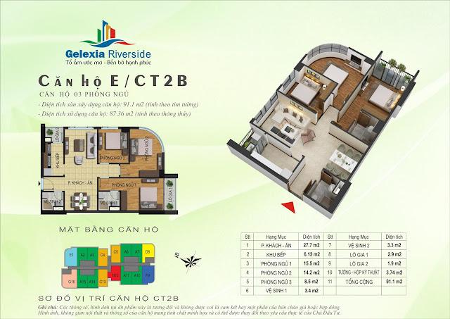 Căn hộ E, 87m2, 3 phòng ngủ - Gelexia Riverside