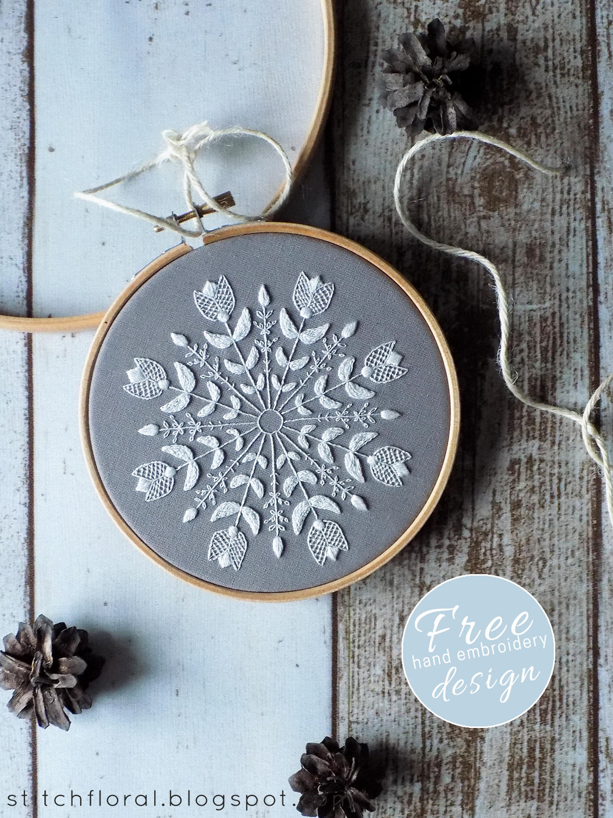 Snowflake Mandala : snowflake, mandala, Snowflake, Mandala:, Winter, Inspired, Embroidery, Freebie, Stitch, Floral