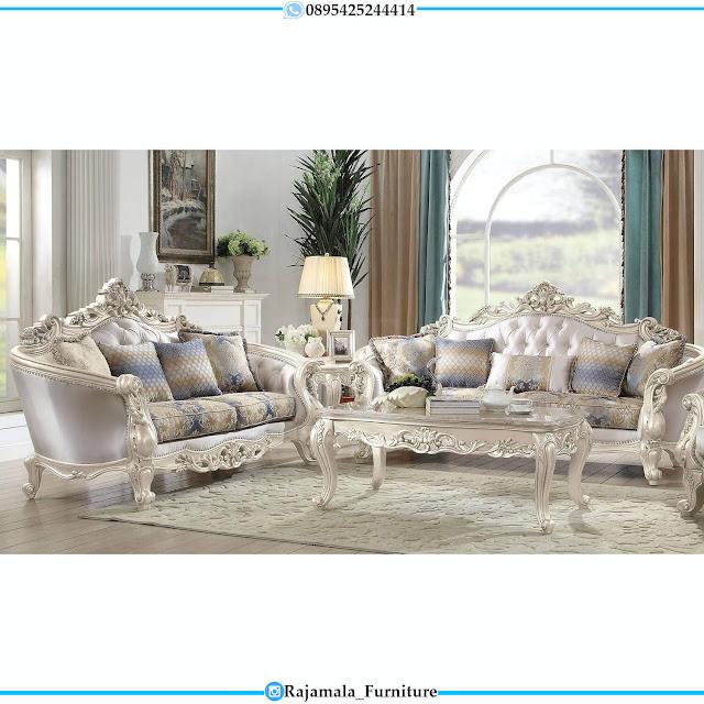 Set Sofa Tamu Ukiran Jepara Mewah Deluxe White Pearl Duco Glossy RM-0516