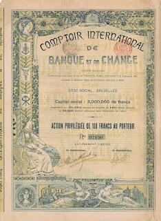 Share of the Comptoir International de Banque et de Change designed with Art Nouveau elements.
