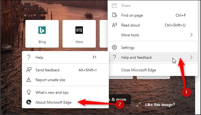 إطلاق صفحة حول Edge ، حيث يمكنك تحديث المتصفح.