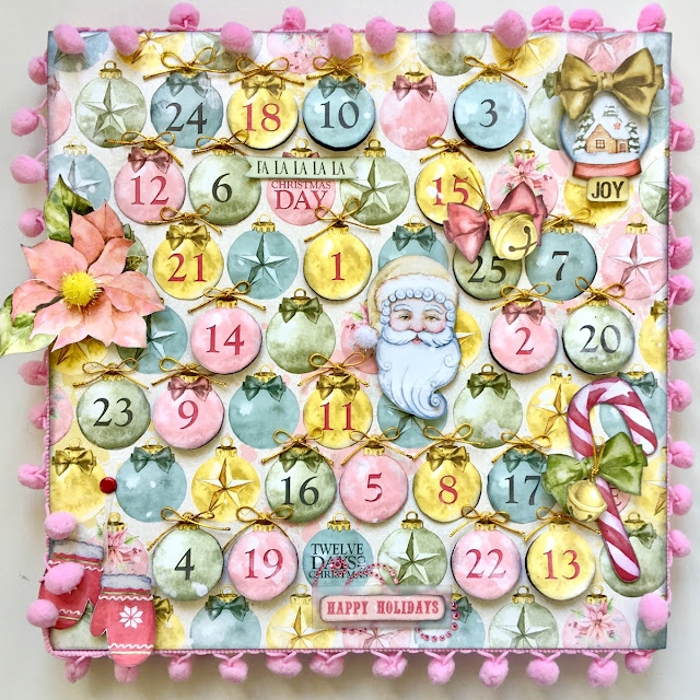 Advent Calendar by Angela Tombari using BoBunny Carousel Christmas collection