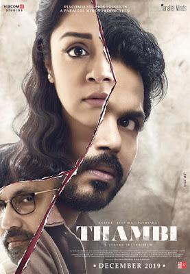 Tamil Movie, Tamil Movie Thambi (2019), Review Filem Tamil Thambi (2019), Ulasan Filem Tamil Thambi (2019), Poster Filem Thambi (2019), Pelakon Utama Filem Tamil Thambi (2019), Karthi, Jyothika, Sathyaraj,