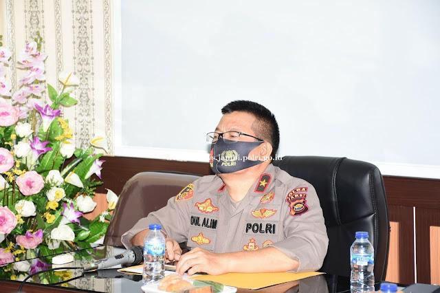Wakapolda Jambi Hadiri Penandatangan Nota Kesepahaman antara BPK RI dengan Polri Via Alikasi Zoom
