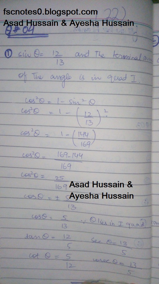 FSc ICS FA Notes Math Part 1 Chapter 9 Fundamentals of Trigonometry Exercise 9.2 Question 4 by Asad Hussain & Ayesha Hussain