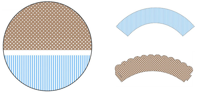 Brown and Light Blue:  Free Printable Wrappers and Toppers.
