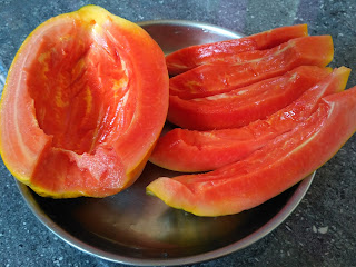 Sun cooked dinner - Papaya