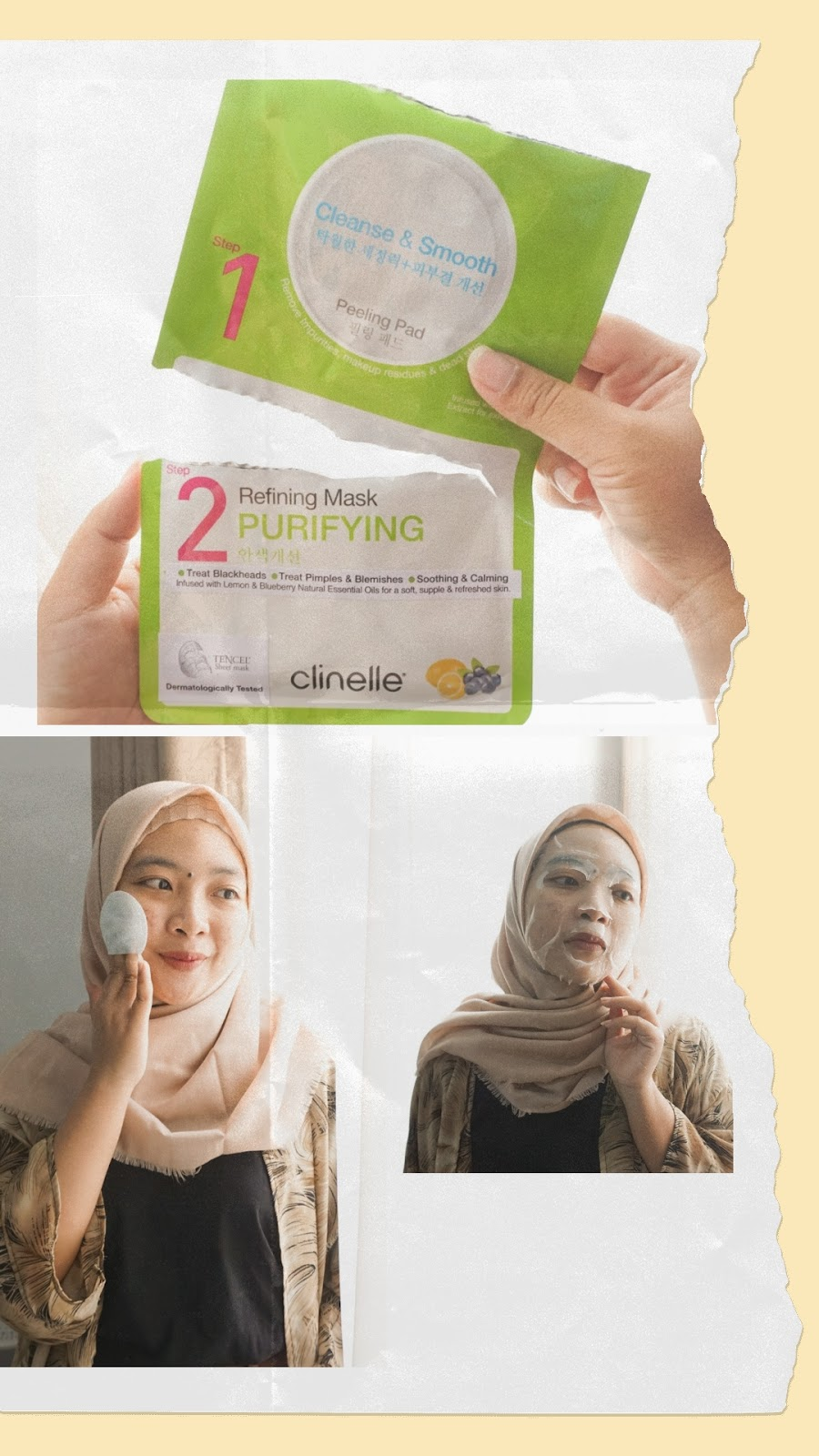 clinelle peeling pad & refining mask purifying review