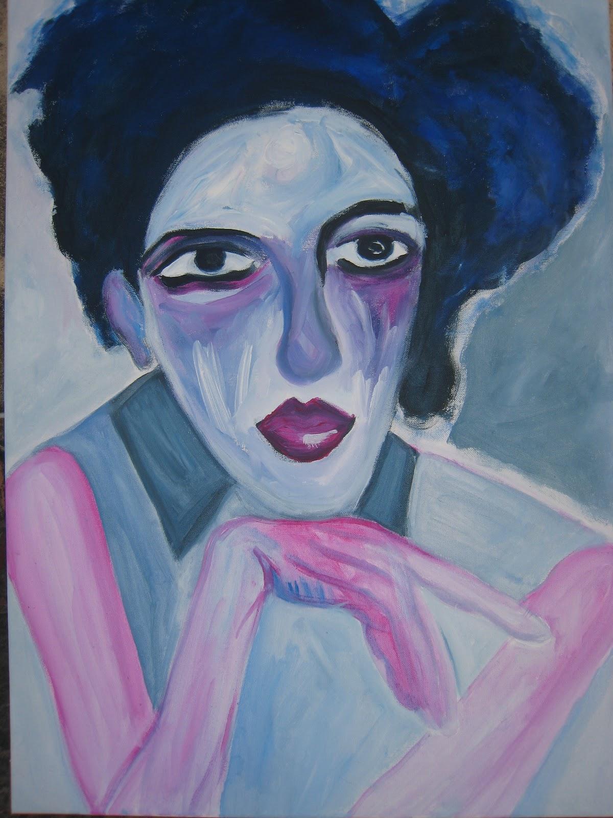 Pintura mujer vestido azul
