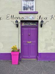 Purple door to Ellen's Tea Room in Carlingford Town Ireland