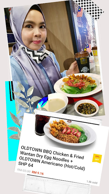 OLDTOWN BBQ Chicken & Fried Wantan Dry Egg Noodles + OLDTOWN Americano (Hot/Cold) Normal price RM22.30