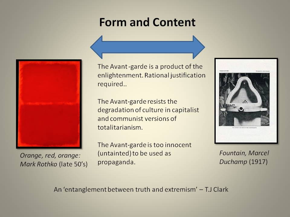 An analysis of formalist and avant garde artists in the modern art