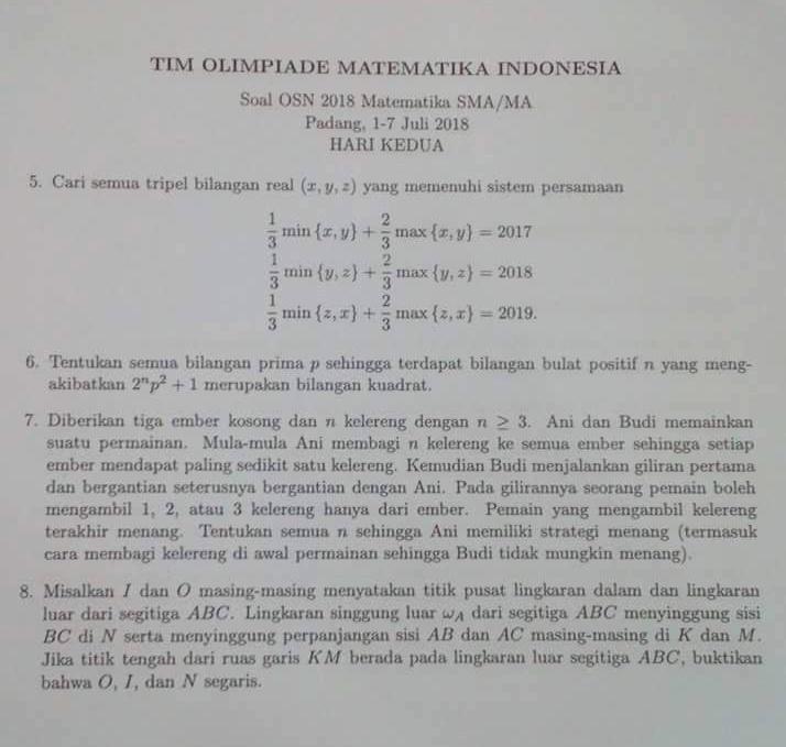 tingkat nasional yang diselenggarakan di kota padang provinsi sumatera barat pada tanggal Arsip OSN:  Soal OSN Matematika SMA 2018 Tingkat Nasional