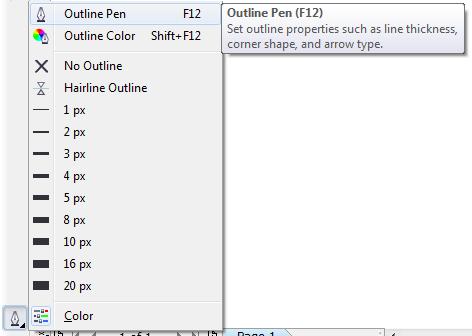 Mengenal bagian CorelDRAW - Outline Pen Tool