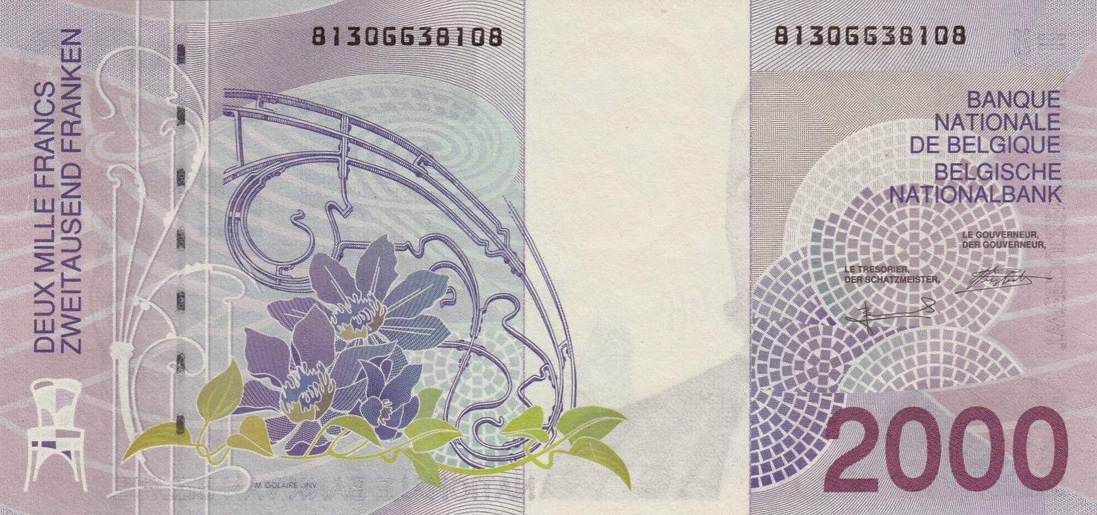 Belgium Money Currency 2000 Belgian Francs banknote 1994 Art Nouveau Victor Horta