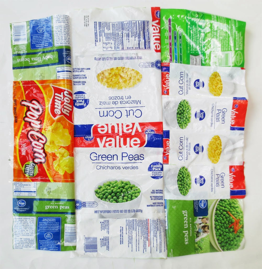 quilt made from plastic food packages