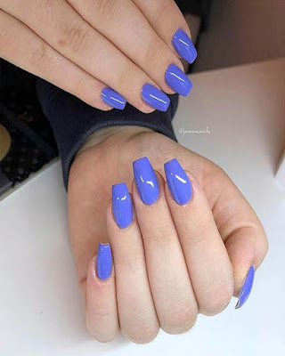 Coffin nails blue short
