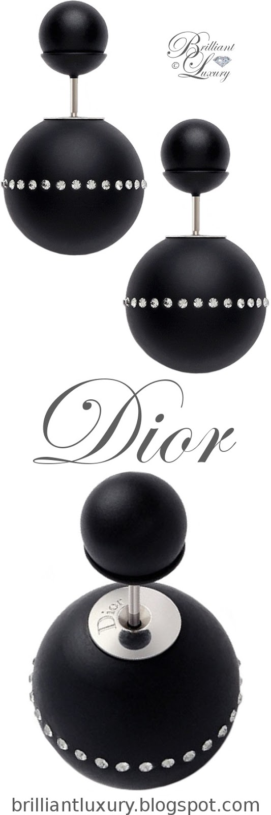 Brilliant Luxury ♦ Dior 'Mise en Dior' tribal-inspired earrings in black with diamonds
