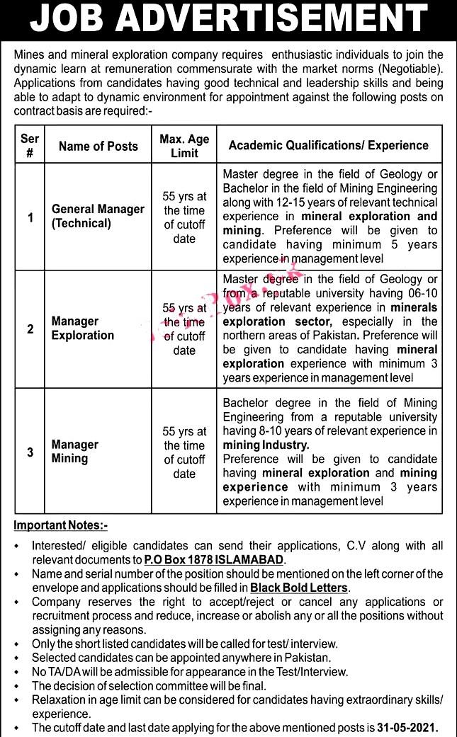 New Jobs in PO Box NO 187 Islamabad May 2021