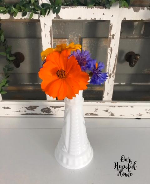 Anchor Hocking Stars and Bars milk glass bud vase fall flowers