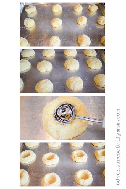 collage of images depicting baking cookies and creating an indent for the lemon curd filling
