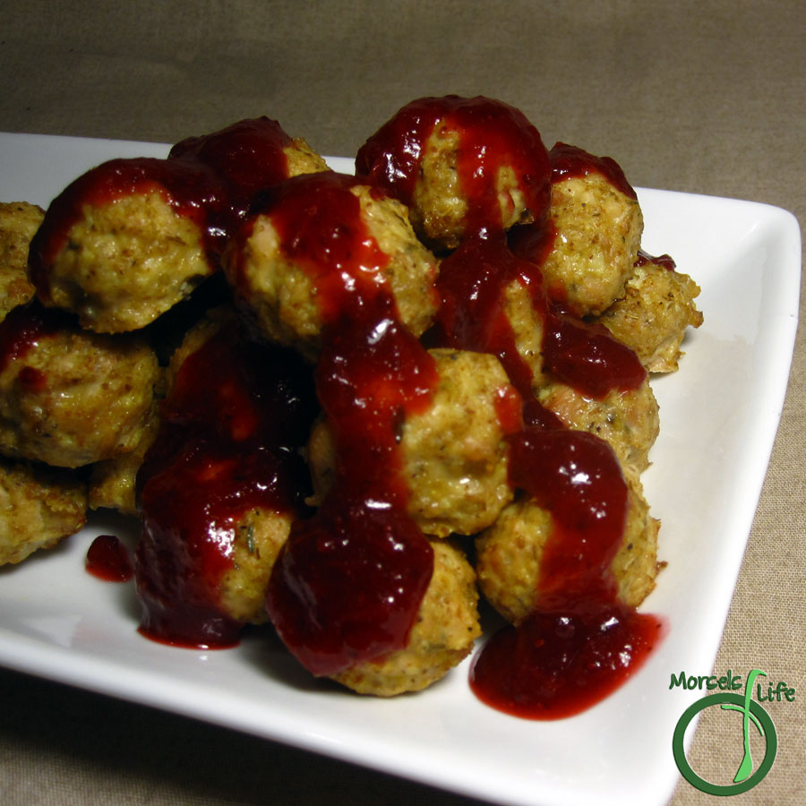Morsels of Life - Cranberry Glazed Meatballs - Flavorful, moist meatballs bathed in a tart yet sweet cranberry sauce for a savory contrast.