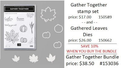 Stampin'UP!'s Gathered Leaf Dies and Gather Together Stamp Set part of the Gather Together Bundle.