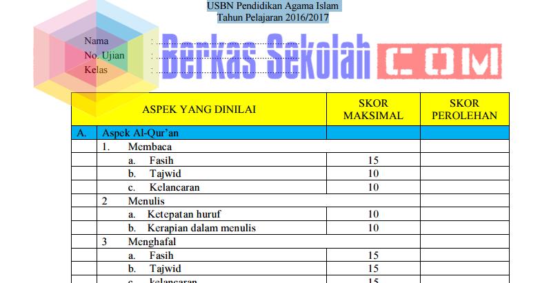 Format Penilaian Ujian Praktek Usbn Pai Sd Tahun Pelajaran 2016 2017 Resmi Bsnp Berkas Sekolah