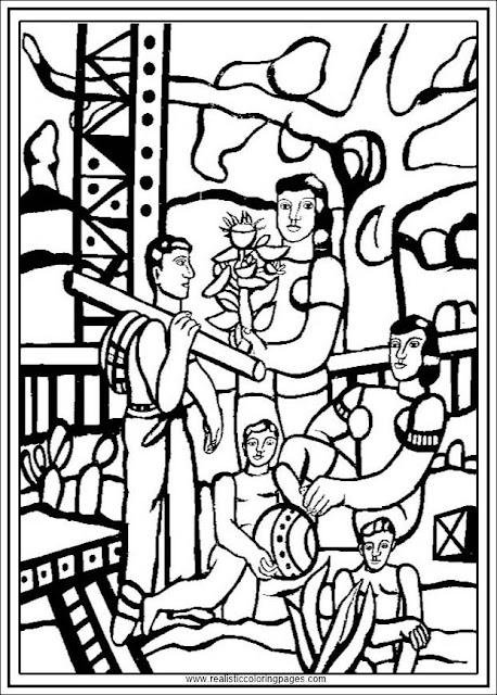 the camper printable fernand Leger adults coloring pages