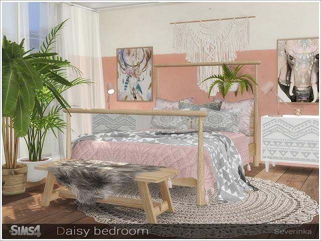 Daisy bedroom Ромашка спальня для The Sims 4 Набор мебели и декора для оформления спальни в стиле бохо. В набор входят 11 предметов: - двуспальная кровать - двуспальное одеяло - двуспальные подушки - столик - журнальный столик (скамейка) - меховой плед для журнального столика (скамейка ) - трикотажное одеяло с pompones - одеяло - ковер - плакат - макрам Автор: Severinka_
