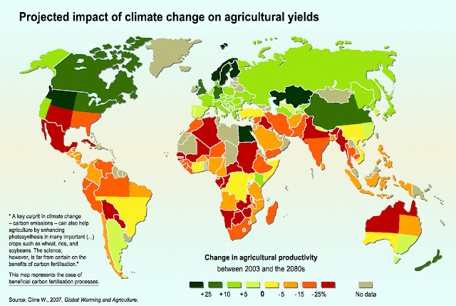 Projected impact of climate change on agricultural yields