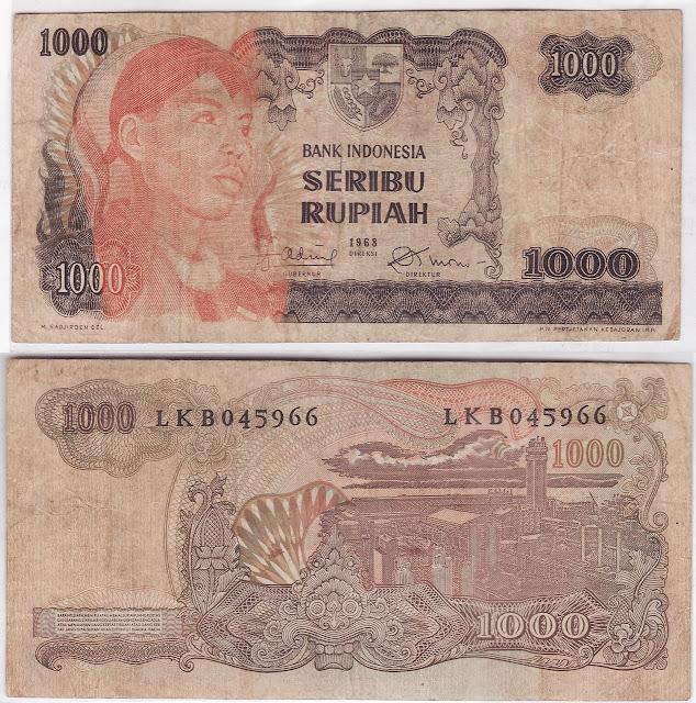 uang kertas indonesia 1000 rupiah seri sudirman tahun 1968