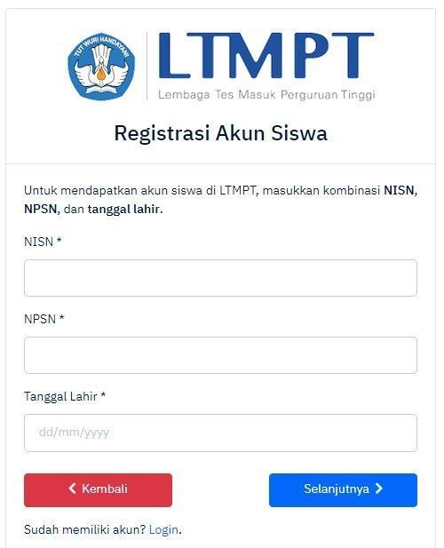 Membuat Akun LTMPT bagi Siswa
