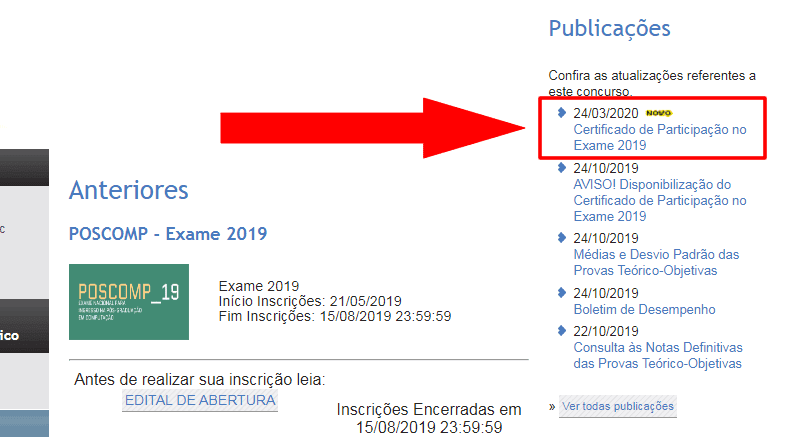 Link do certificado de participação no POSCOMP 2019