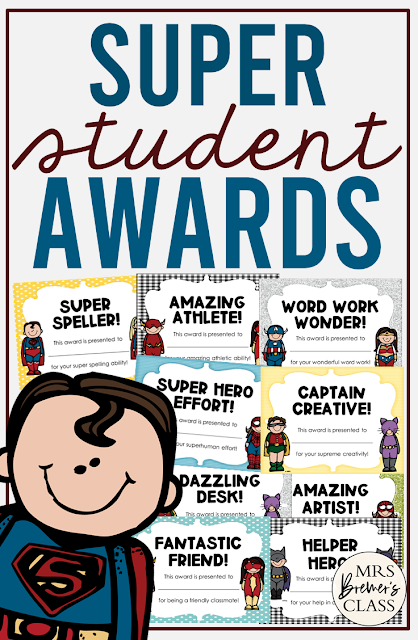 Superhero themed student awards to celebrate your students' accomplishments in Kindergarten, First Grade, and Second Grade