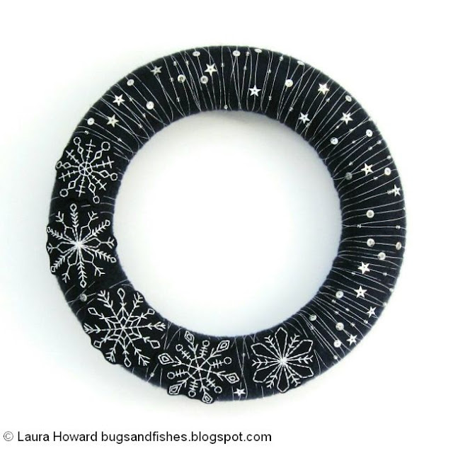 make an embroidered snowflake wreath for winter or Christmas