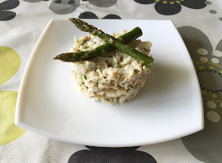 Timbal of hake with aioli and green asparagus