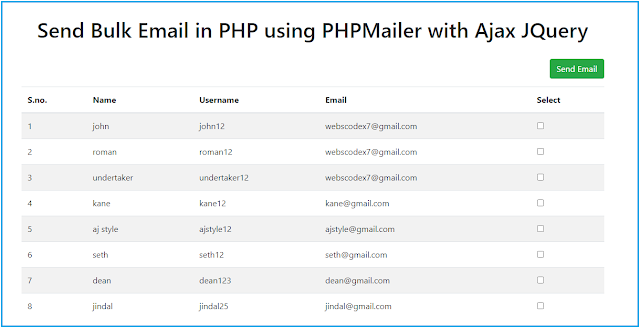 How to Send Bulk Email in PHP using PHPMailer with Ajax JQuery