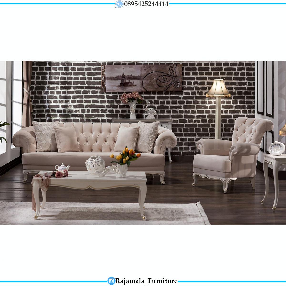 Sofa Tamu Minimalis Putih Luxury Shabby Chic Furniture Jepara RM-0623