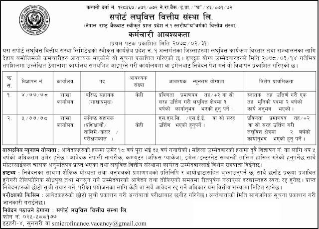 Support Laghubitta Bittiya Sanstha Limited Vacancy Announcement