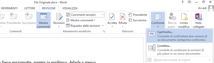 Word: Revisione-Confronta