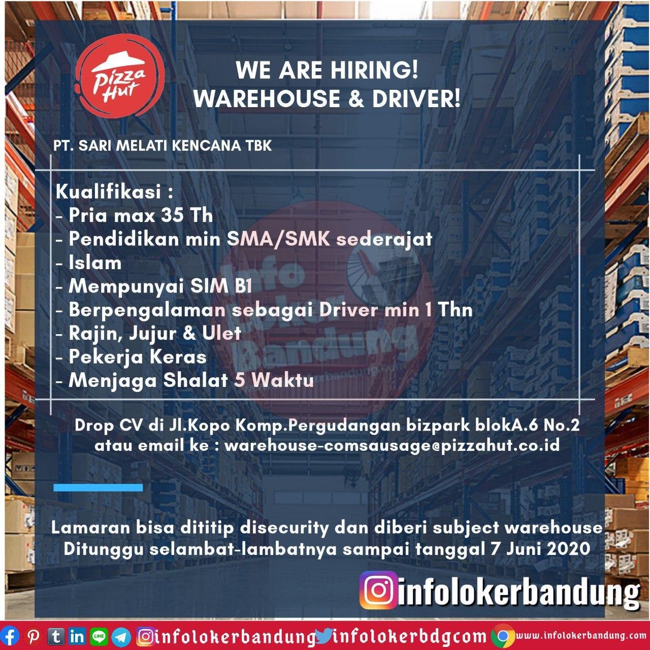 Lowongan Kerja Warehouse & Driver Pizza Hut PT. Sari Melati Kencana Tbk Bandung Mei 2020
