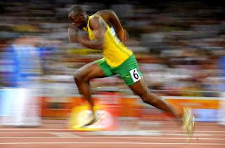 sprinter Usain Bolt World record times