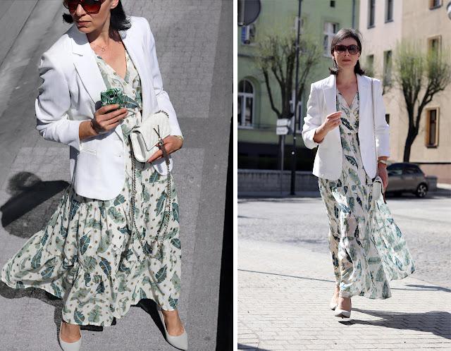 sukienka maxi i żakiet stylizacje
